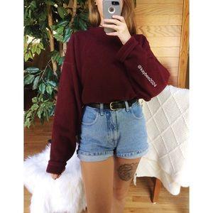 🌿 Vintage Plush Maroon Cozy Boyfriend Pullover 🌿